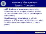 inventory management special concerns