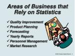 areas of business that rely on statistics