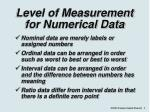 level of measurement for numerical data