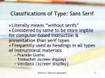 classifications of type sans serif