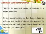 actividad clases de grupos