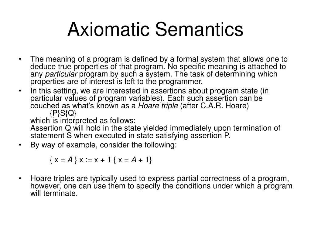 axiomatic semantics l.