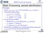 water processing aerosol identification