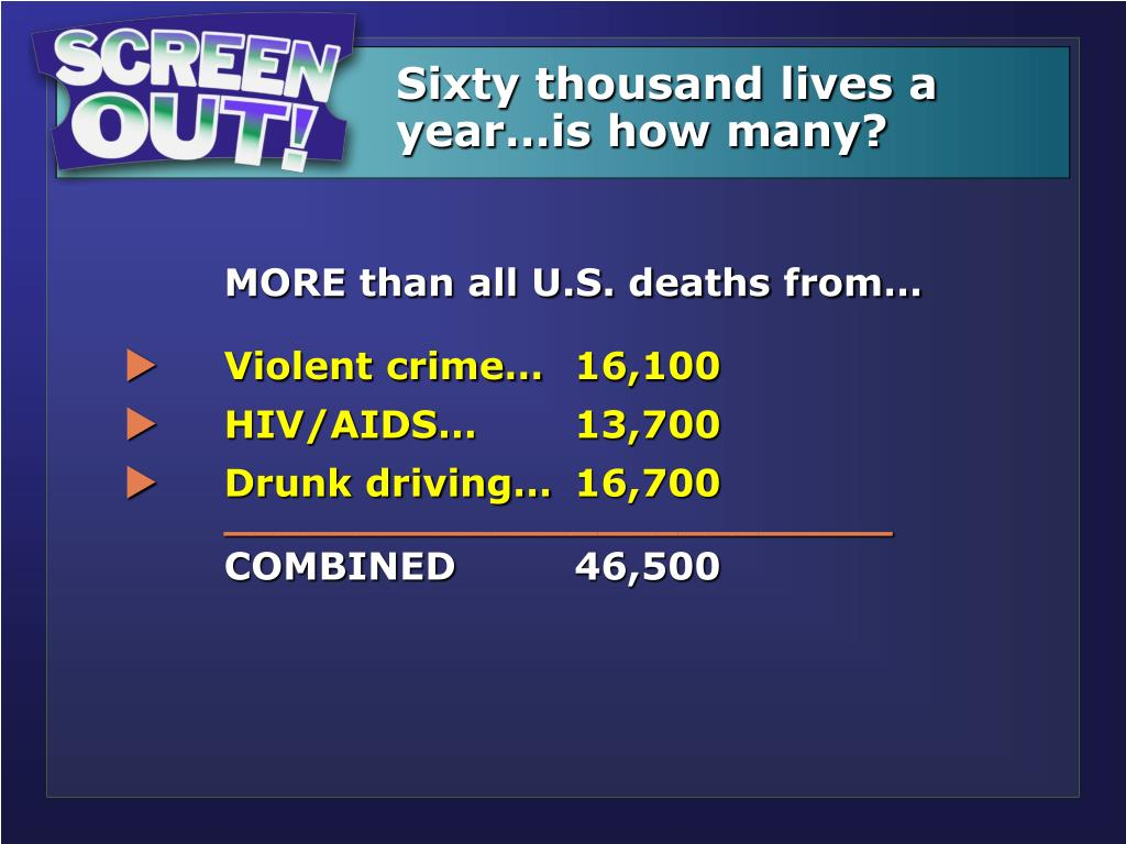 Sixty thousand lives a year…is how many?
