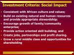 investment criteria social impact