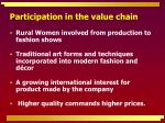 participation in the value chain
