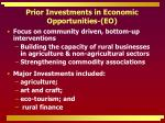 prior investments in economic opportunities eo