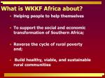 what is wkkf africa about