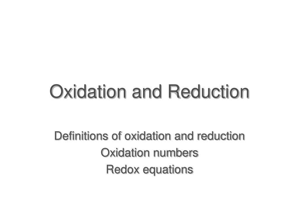 oxidation and reduction l.