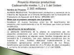 proyecto alianzas productivas codesarrollo niveles 1 2 y 3 del sisben 2 565 millones