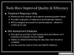 tools have improved quality efficiency