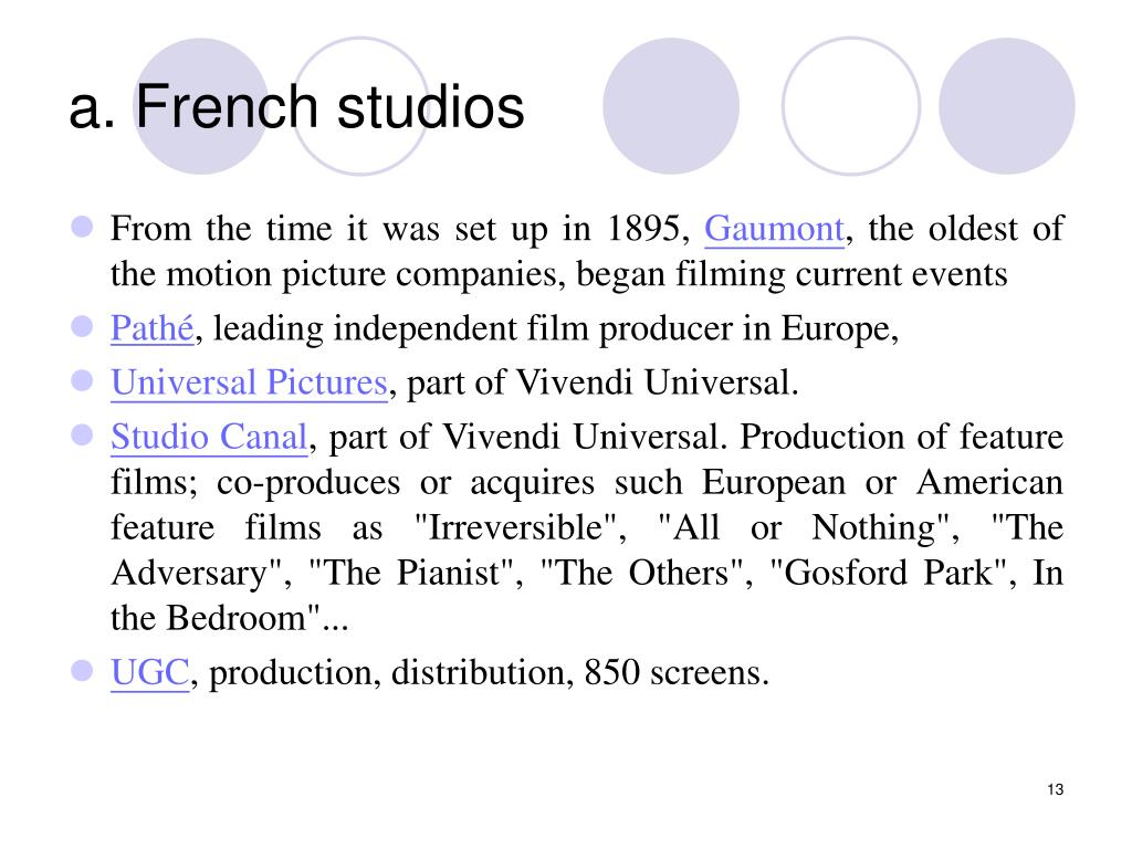 a. French studios