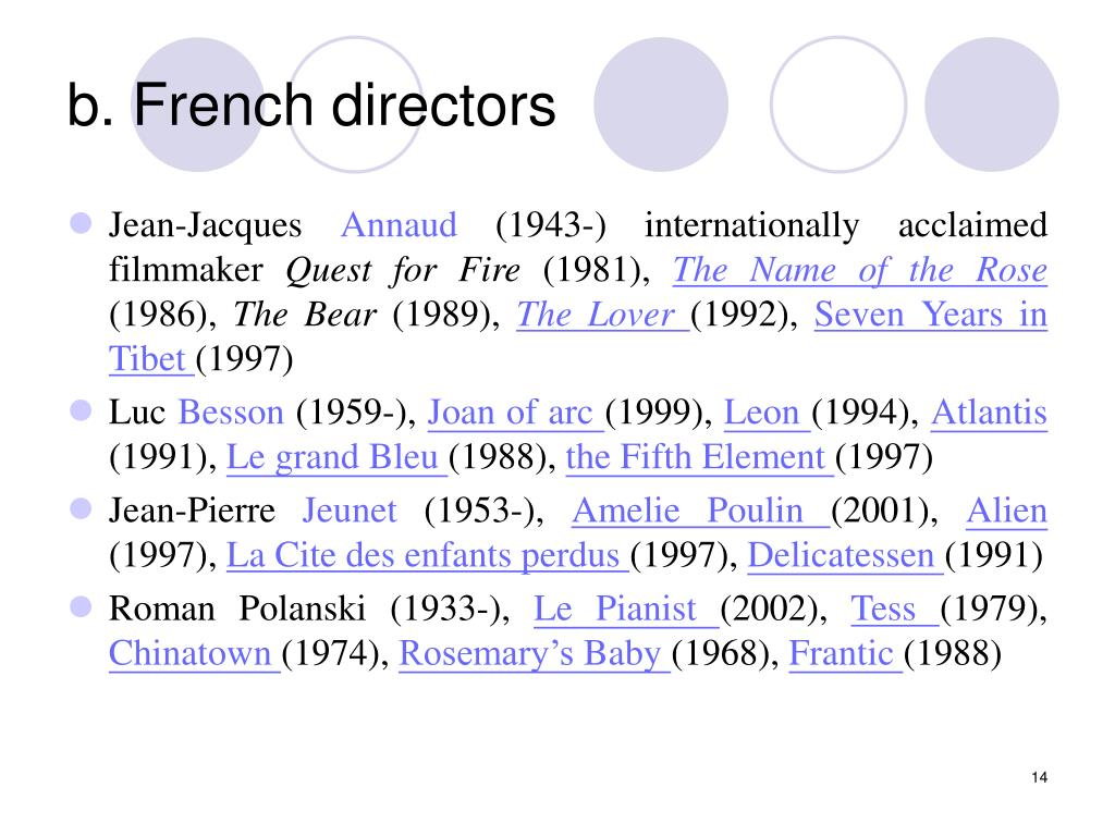 b. French directors