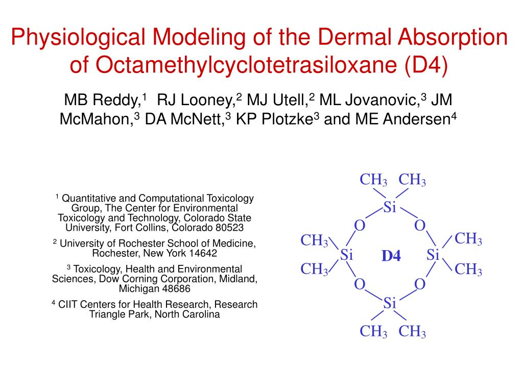 physiological modeling of the dermal absorption of octamethylcyclotetrasiloxane d4 l.