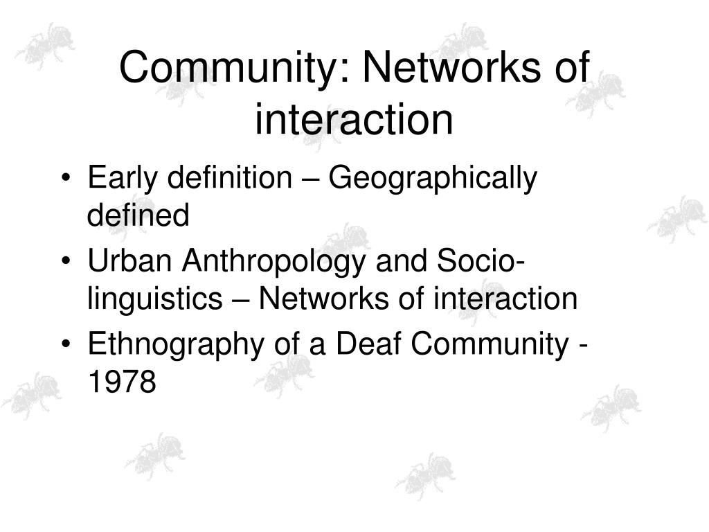 Community: Networks of interaction