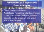 prevention of anaphylaxis food allergies
