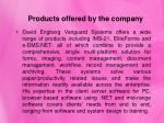 products offered by the company