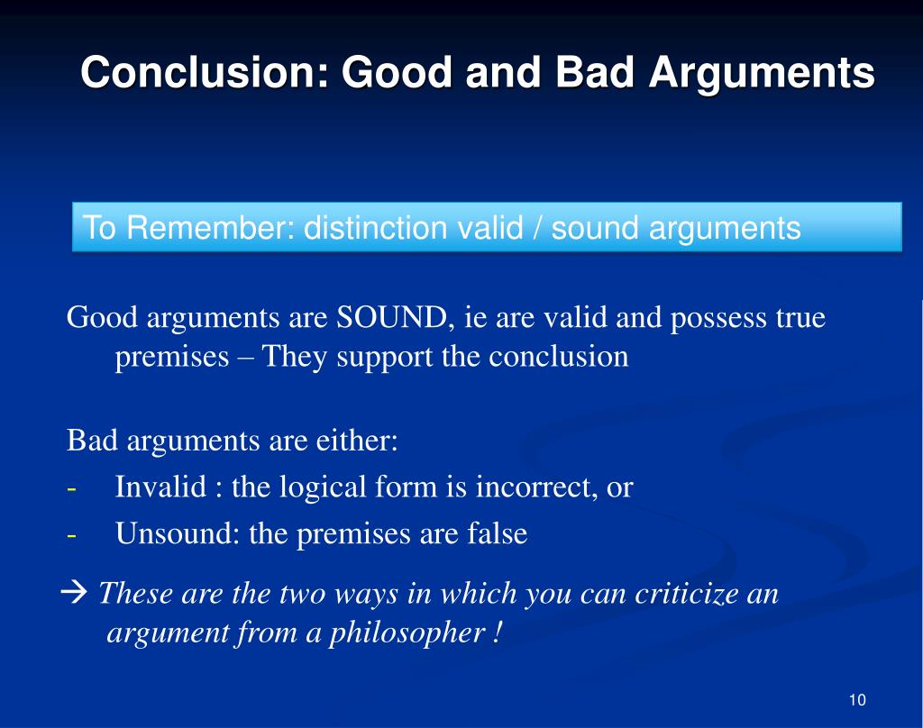 Conclusion: Good and Bad Arguments