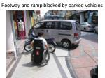 footway and ramp blocked by parked vehicles