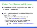 online form ranking and grouping