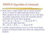 pphplp algorithm continued