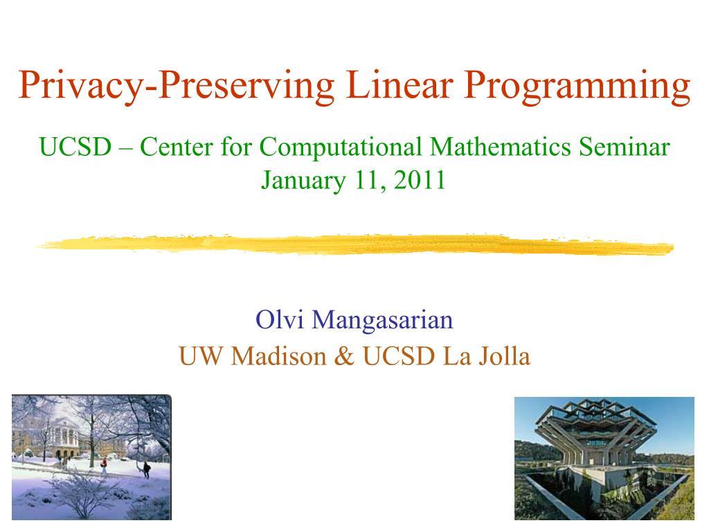 privacy preserving linear programming l.