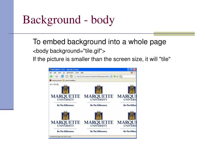 Background body