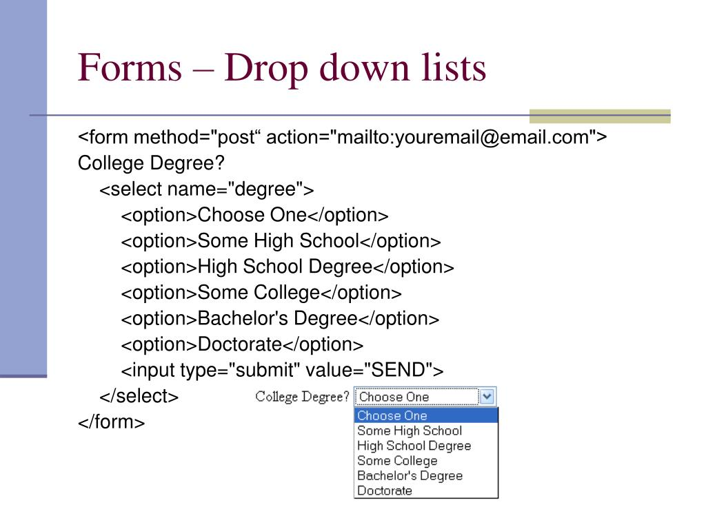 Forms – Drop down lists