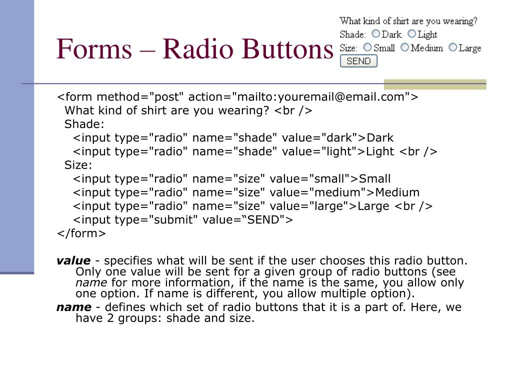 Forms – Radio Buttons