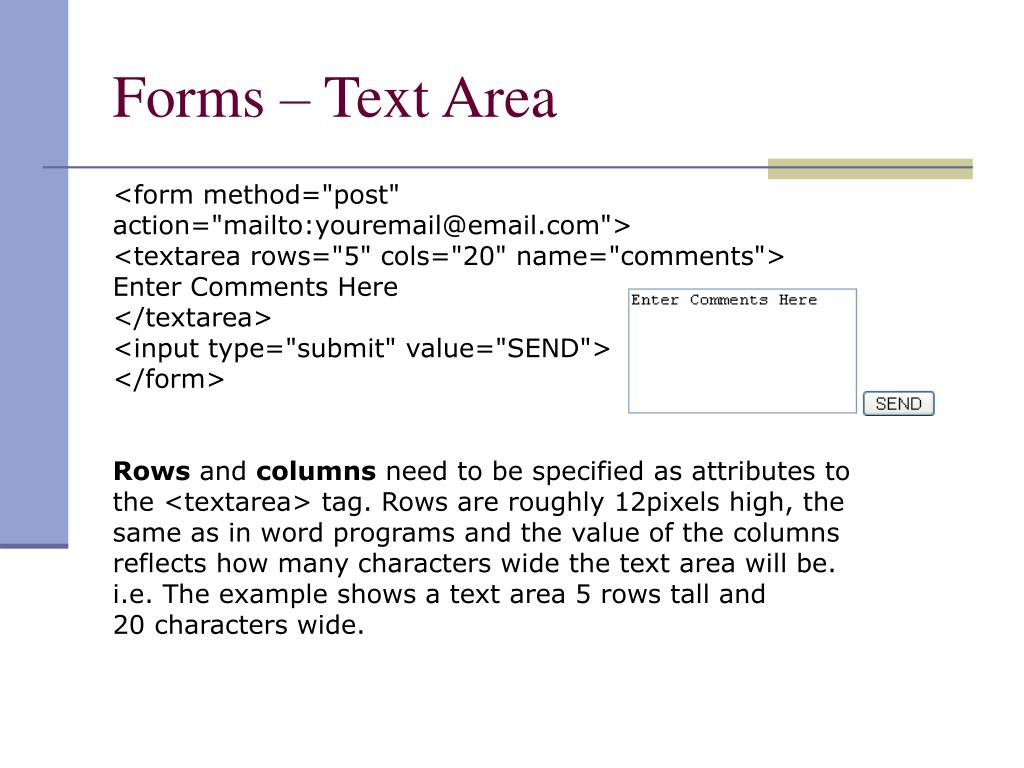 Forms – Text Area