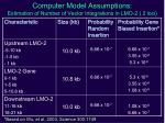 computer model assumptions estimation of number of vector integrations in lmo 2 2 loci