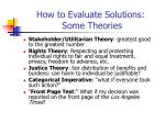 how to evaluate solutions some theories