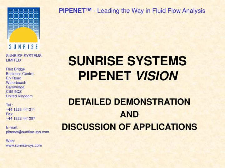 sunrise systems pipenet vision n.