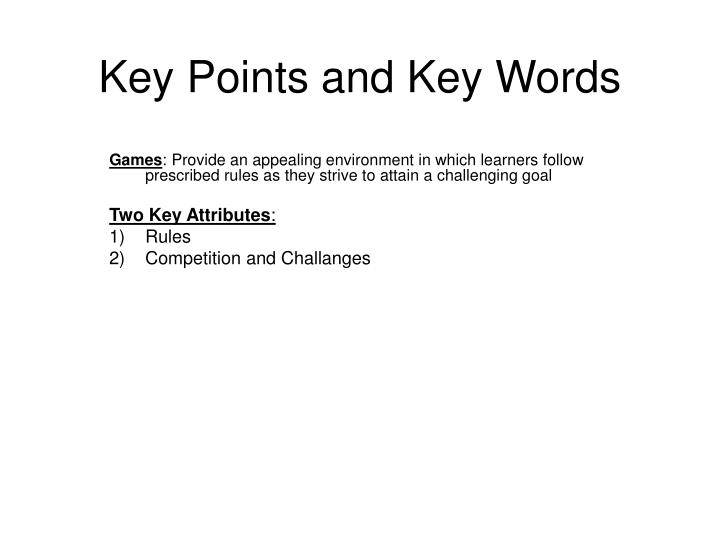 key points and key words n.