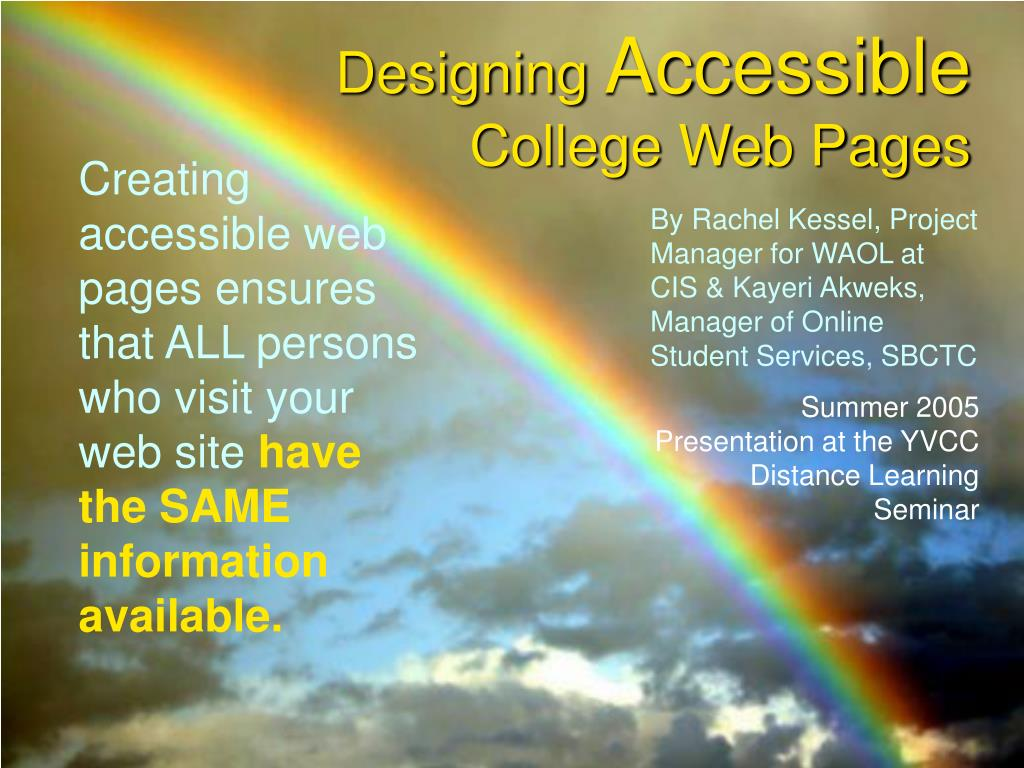 designing accessible college web pages l.
