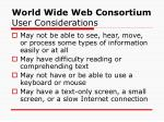 world wide web consortium user considerations