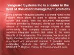 vanguard systems inc is a leader in the field of document management solutions