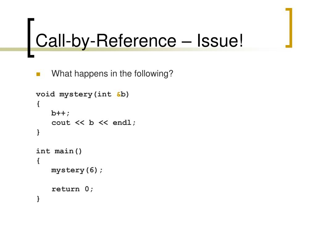 Call-by-Reference – Issue!