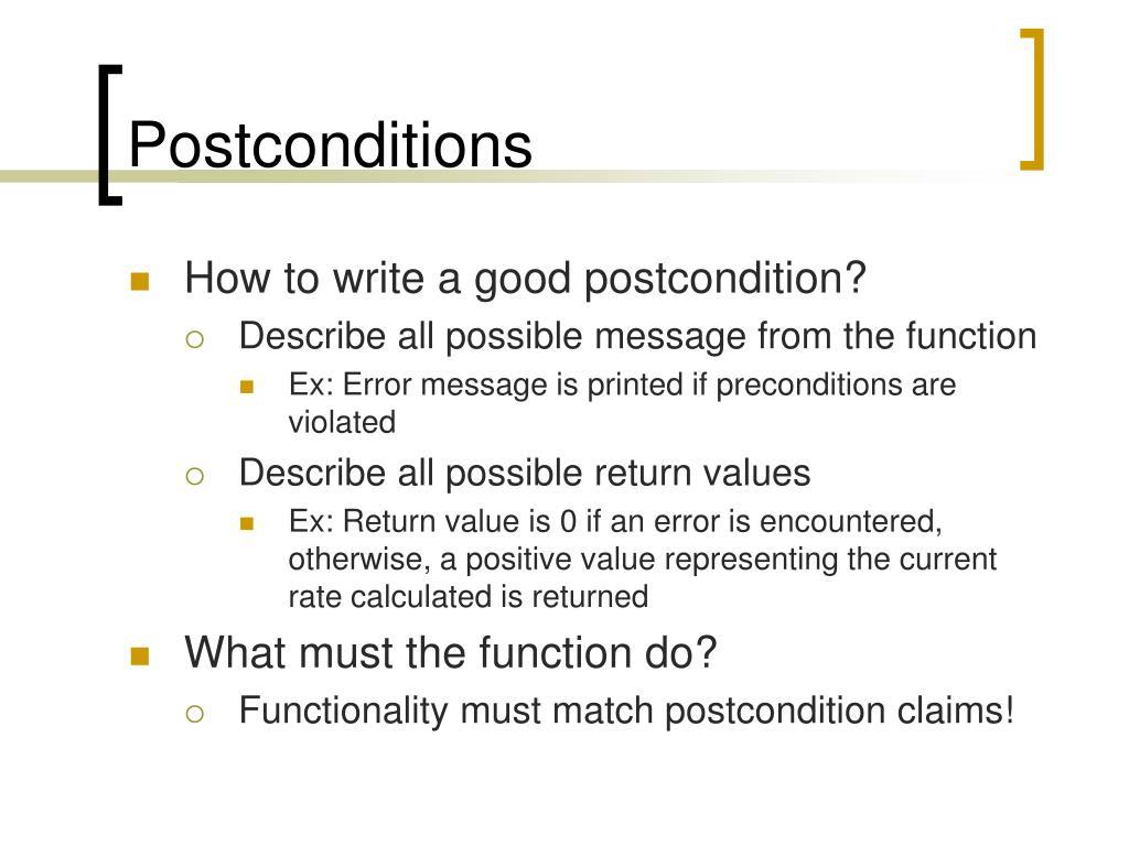 Postconditions