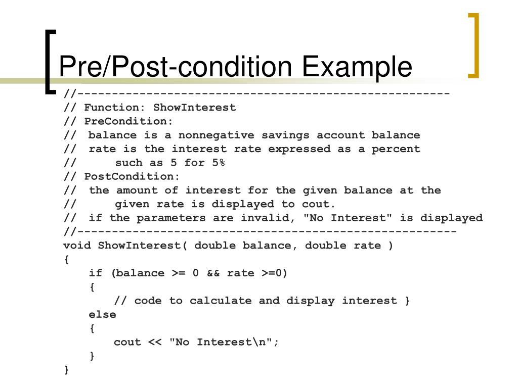 Pre/Post-condition Example
