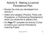 activity 5 making a learner persistence plan