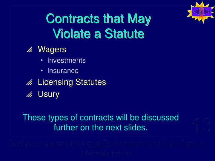 Contracts that may violate a statute