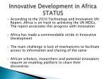 innovative development in africa status