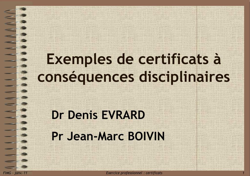 exemples de certificats cons quences disciplinaires l.