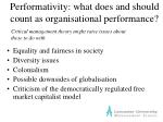 performativity what does and should count as organisational performance6