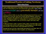 traditional practice of salting newborns introduction