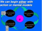 we can begin either with action or mental models