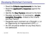 developing worksheet comments