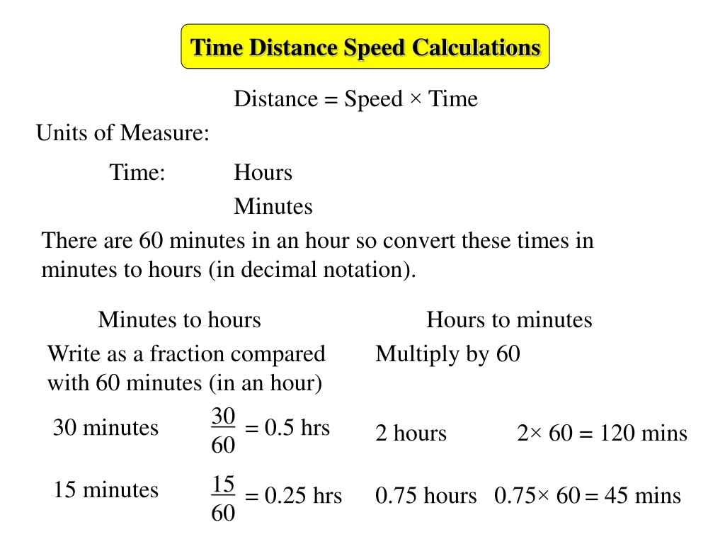 Time Distance S D Calculations Powerpoint Ppt Presentation