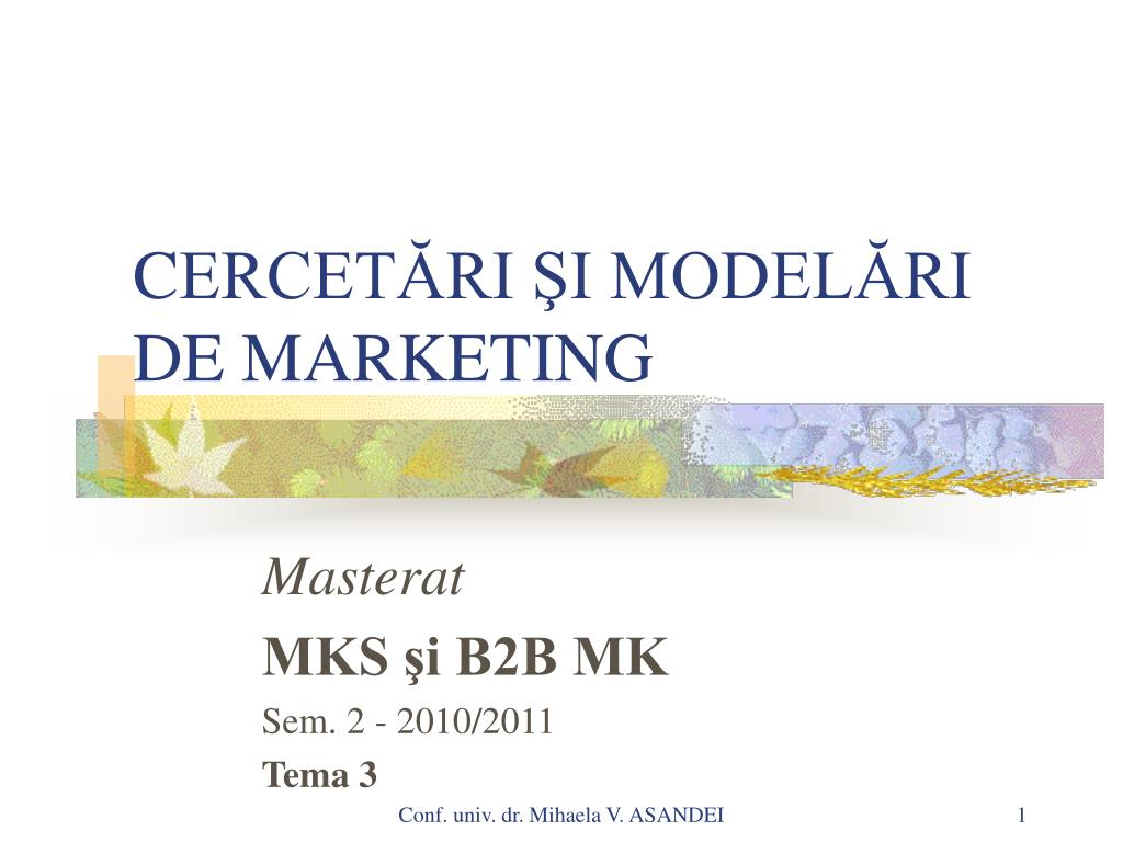 c ercet ri i model ri de marketing l.